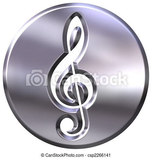 3D Silver Framed Treble Clef - csp2266141