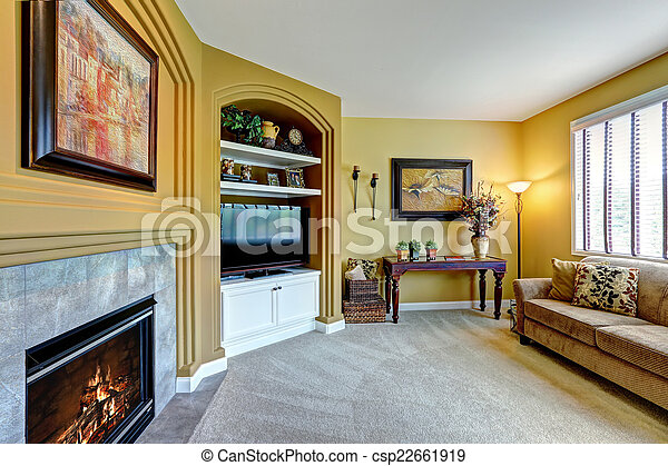 Of Cozy Living Room With Fireplace And TV Cozy Living Room