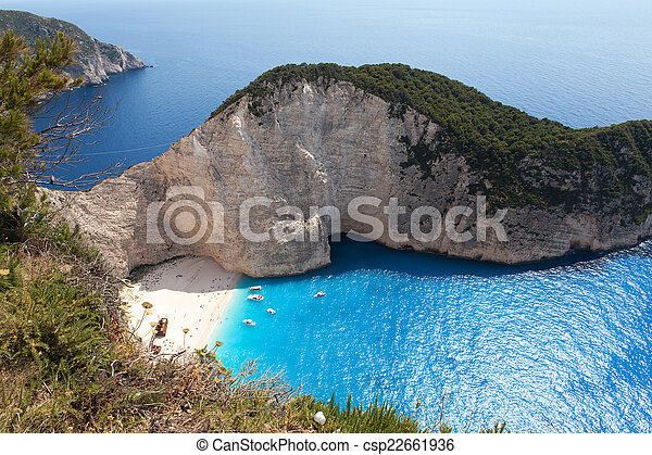 Navagio Beach, Zakynthos, Greece - csp22661936