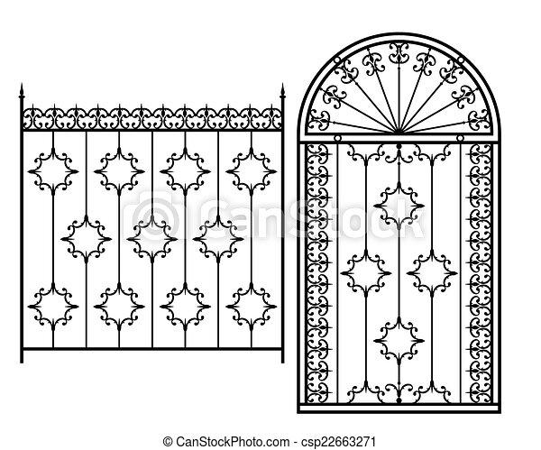 Illustrations vectoris es de barri re gril porte fen tre conception fer balustrade for Balustrade fer forge