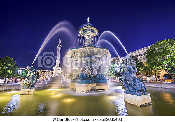 Rossio Square Fountain of Lisbon