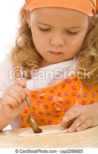Little girl making cookies series - csp2266925