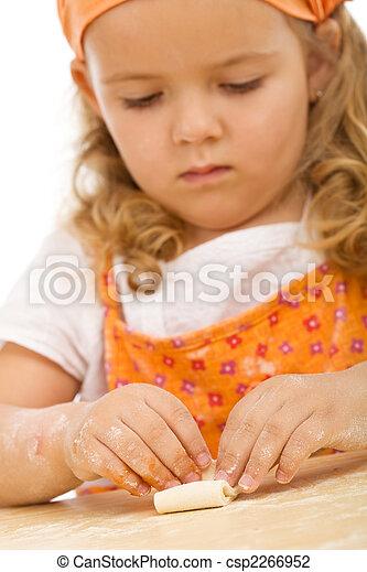 Little girl making cookies series - csp2266952
