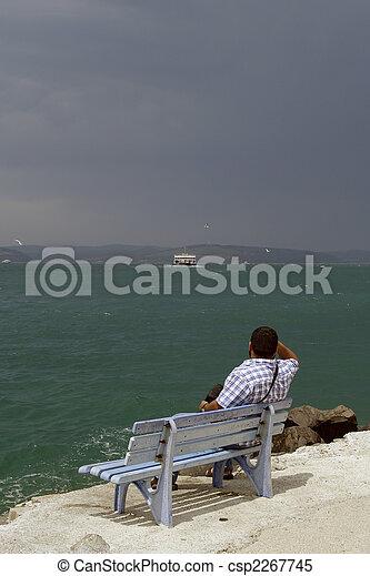 A, איש, יושב, ספסל - csp2267745