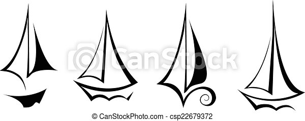 vector flat design sailing yacht boat transportation icon - csp22679372