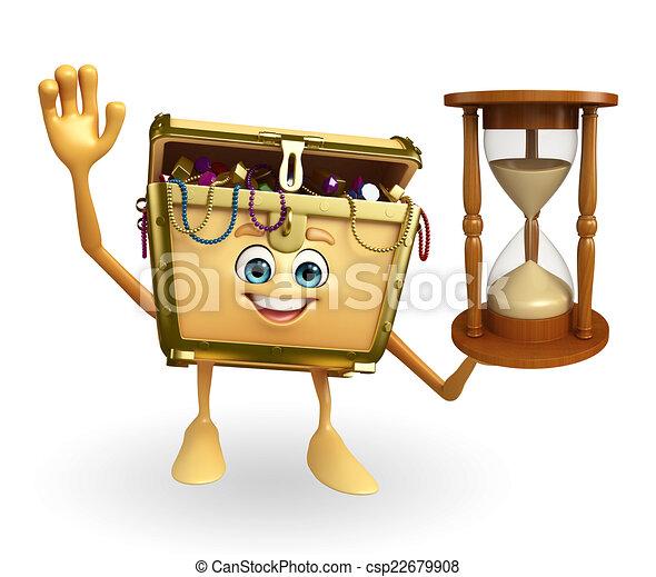箱, 砂, 宝物, 特徴, 時計ストックイラストレーション