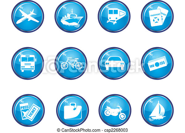 12 Blue Glossy Travel Icons - csp2268003
