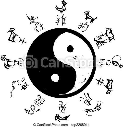 yin, yang, Tao, Simbolo, circondare, cinese, zodiaco