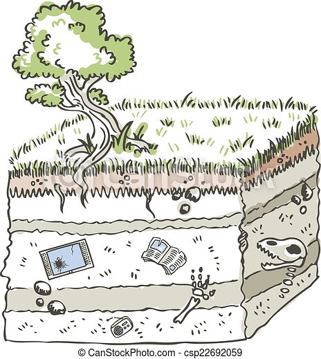Clipart Vector of Traditional media archaeology - stratum showing ...