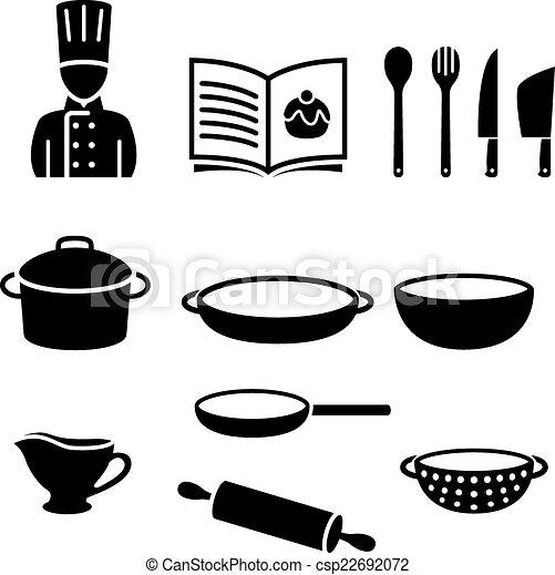 Vector illustratie van symbolen het koken different het koken gereedschap csp22692072 for Beeldkoken