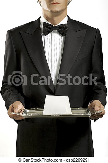 Waiter with black tie - csp2269291