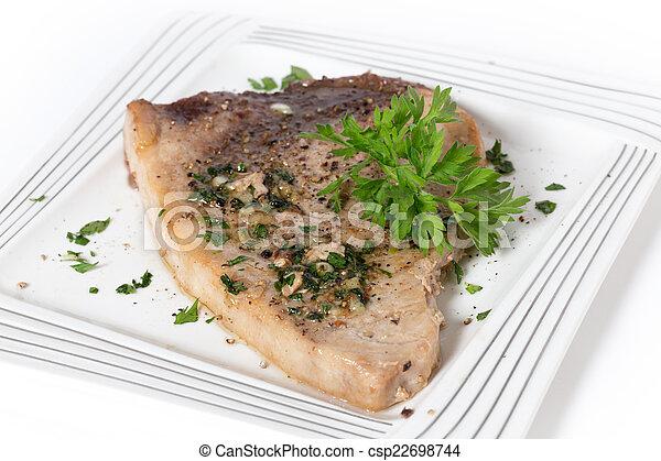 Garnished swordfish steak - csp22698744