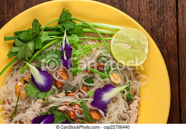 Stock Photo - Glass Noodle, Pork, Nut Spicy Salad(Yum Woon Sen ...