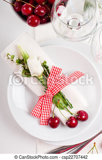 decoration with fresh flowers and sweet cherry