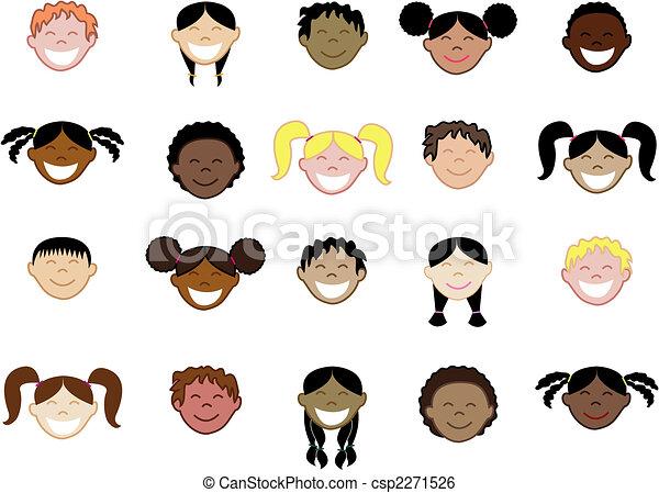 20 Kids Faces 2 - csp2271526