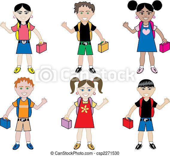 School Kids with Backpacks - csp2271530