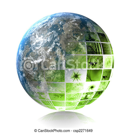 verde, tecnologia, Futuristico - csp2271649