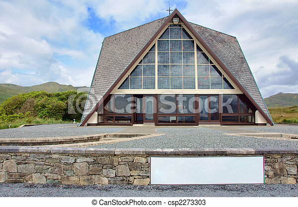 remote rural church blue sky and mountains, advert on white - csp2273303