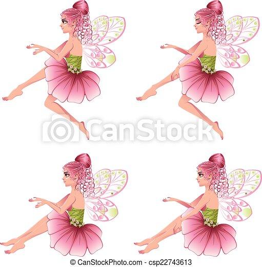 Vector Clip Art of Pink Floral Fairy - Cute cartoon fairy with ...