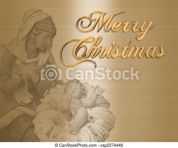 Stock Illustration of Christmas Card Nativity Religious - Image ...