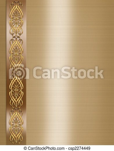 Wedding Invitation Elegant Gold border - csp2274449