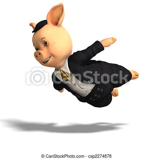 cute cartoon pig with clothes - csp2274878