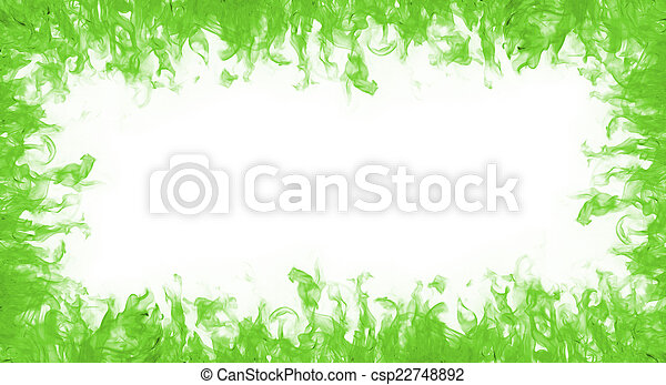 Green fire frame on white backgound