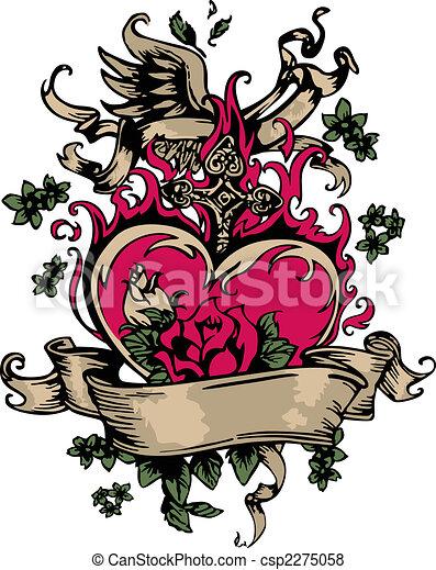 vintage fancy heart and rose emblem - csp2275058