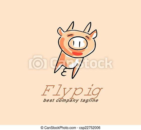 Cute Pig Logo Vector Pig Monster Logo