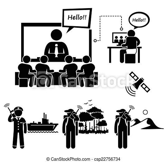vectors of business video conferencing a set of human