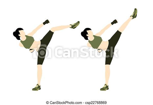 clip art vecteur de jeune femme corps combat fitness jeune femme csp22768869. Black Bedroom Furniture Sets. Home Design Ideas