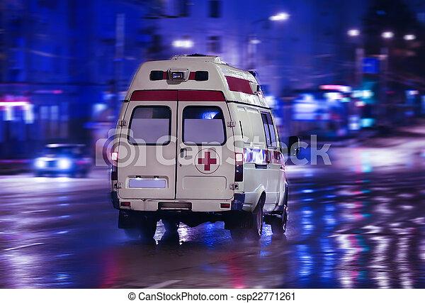 都市, 救急車, 行く, 夜 - csp22771261