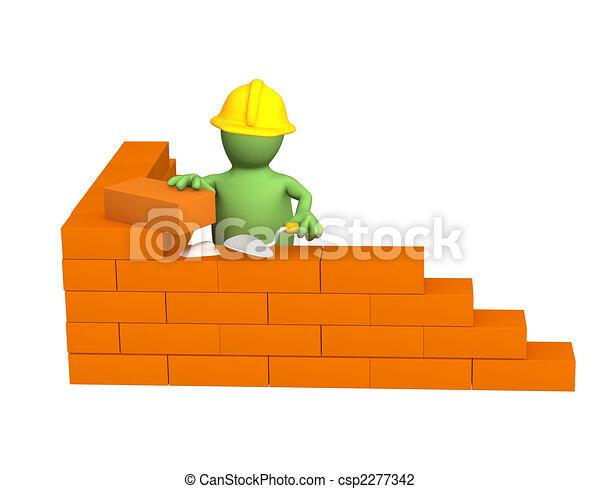 3d puppet - builder, building a brick wall - csp2277342