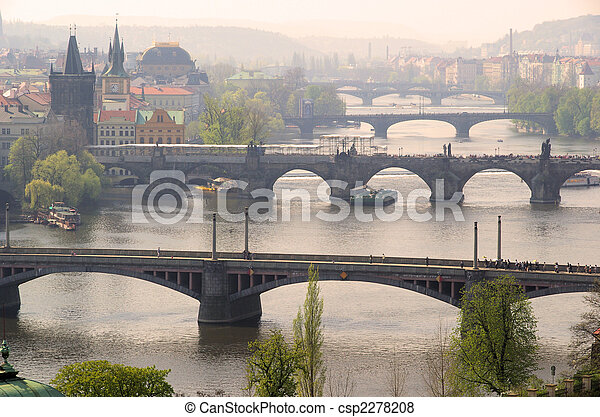 Prague bridges aerial view 09 - csp2278208