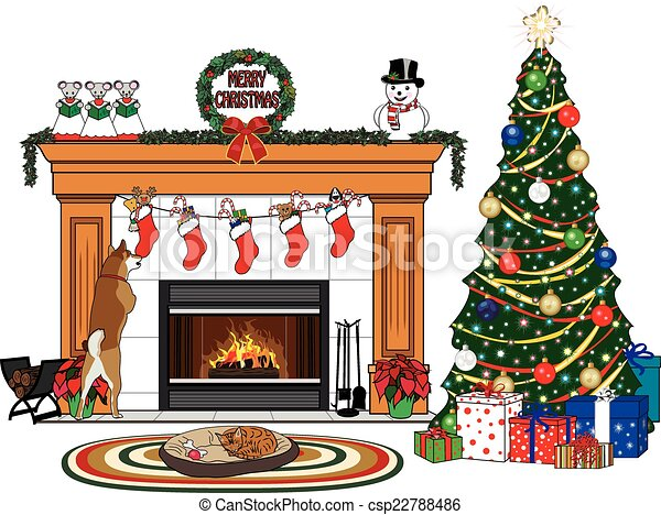 Vector of Christmas Stockings on Fireplace - A Christmas ...