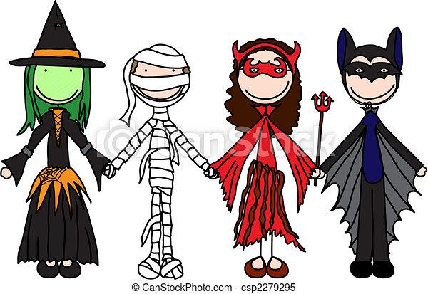 Clipart Vector of Happy kids - Kids holding hands in Halloween ...