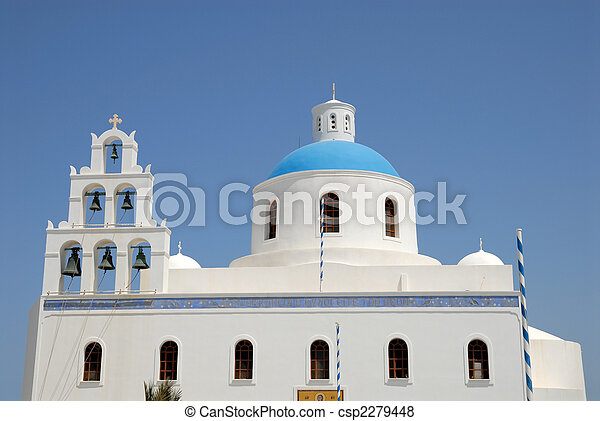 Church in Oia, island Santorini in Greece - csp2279448