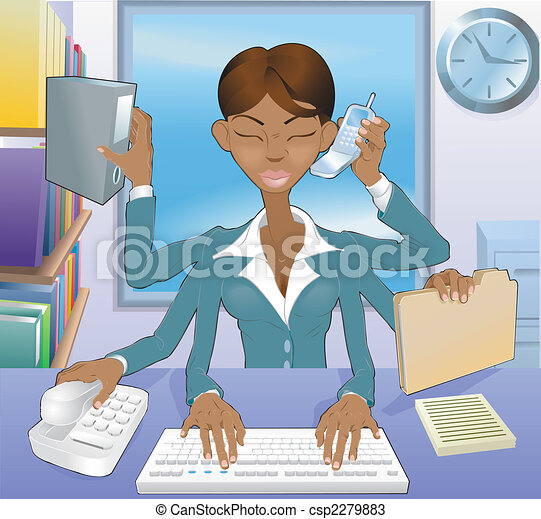 Business woman multi-tasking - csp2279883