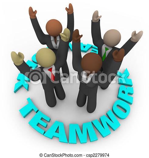 Teamwork - Team Members in Circle - csp2279974