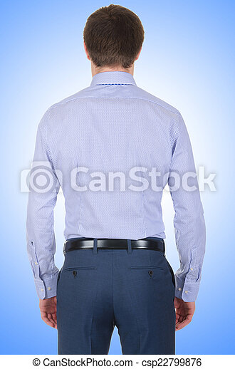 Male model with shirt isolated on white