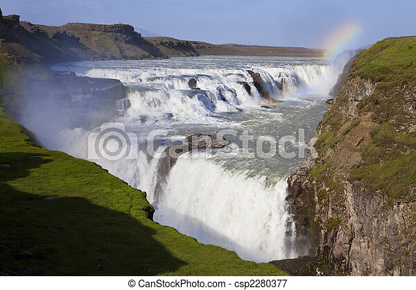 Rainbow Over Gullfoss Waterfall Iceland - csp2280377