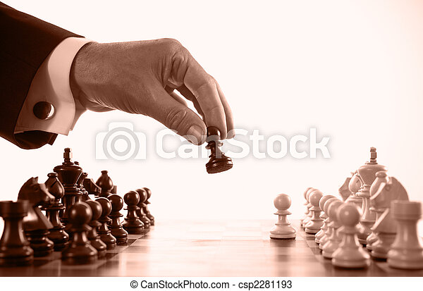 businessman playing chess game sepia tone - csp2281193