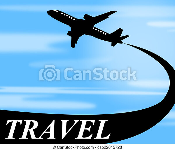 Clip Art of Travel Plane Means Touring Journey And Voyage - Travel ...