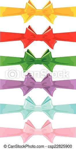 Set of different colors bows isolated on white background - csp22825900