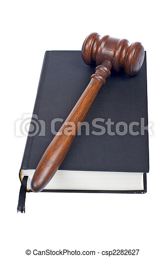 Wooden gavel and law book - csp2282627