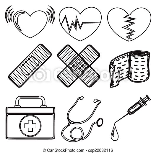 Doodle design of the different medical vector for Doctor bag coloring page