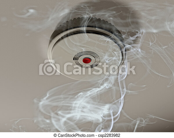 Smoke alarm in a smoky room - csp2283982