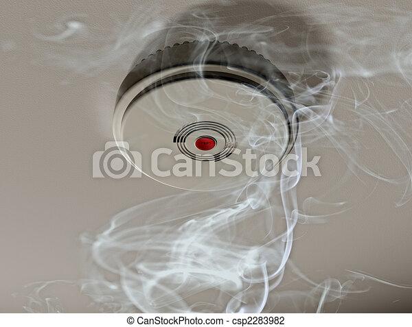 Smoke alarm in a smoky room - csp2283982