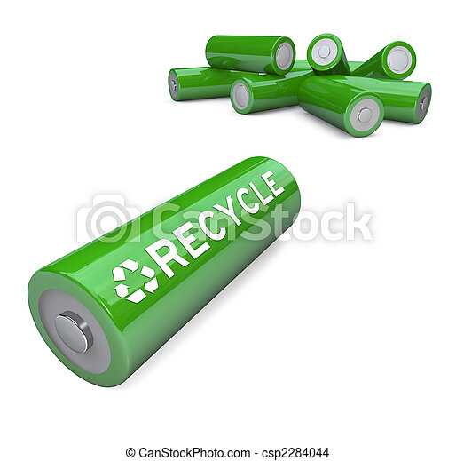Green Batteries - Recycling Symbol on AA Battery - csp2284044