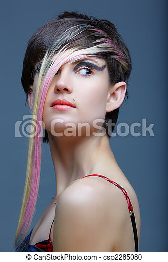 Emo girl with piercings and fringe. - csp2285080